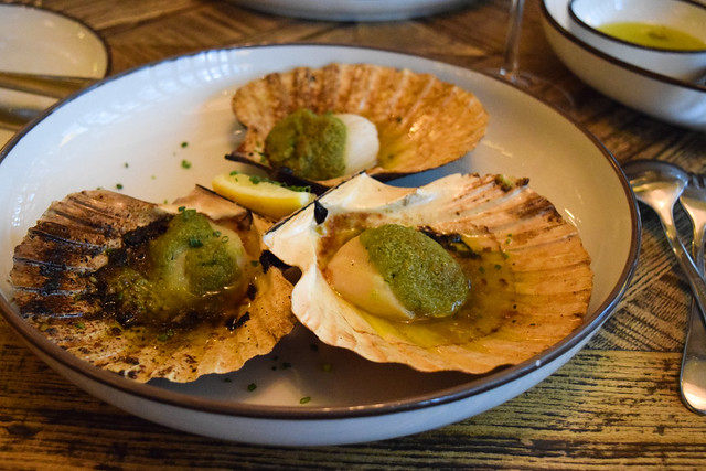 Scallops with Herb Butter, Lemon and Hazelnuts at Hovarda, Soho #greek #turkish #london #soho #scallops