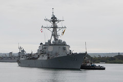 USS Dewey (DDG 105) approaches the pier at Joint Base Pearl Harbor-Hickam, May 2. (U.S. Navy/MC2 Somers T. Steelman)