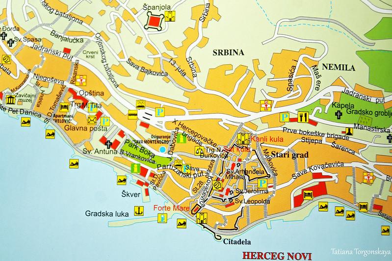 Центр Херцег Нови на карте