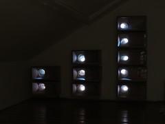 De tien observatie-nestkasten links van de schoorsteen met de zonnewering gesloten en lampen uit.