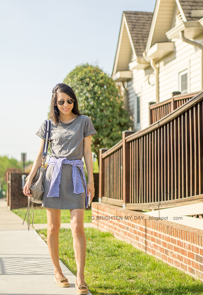 gray green cuffed tee dress, blue striped tee, gray tote with striped straps, boat shoes