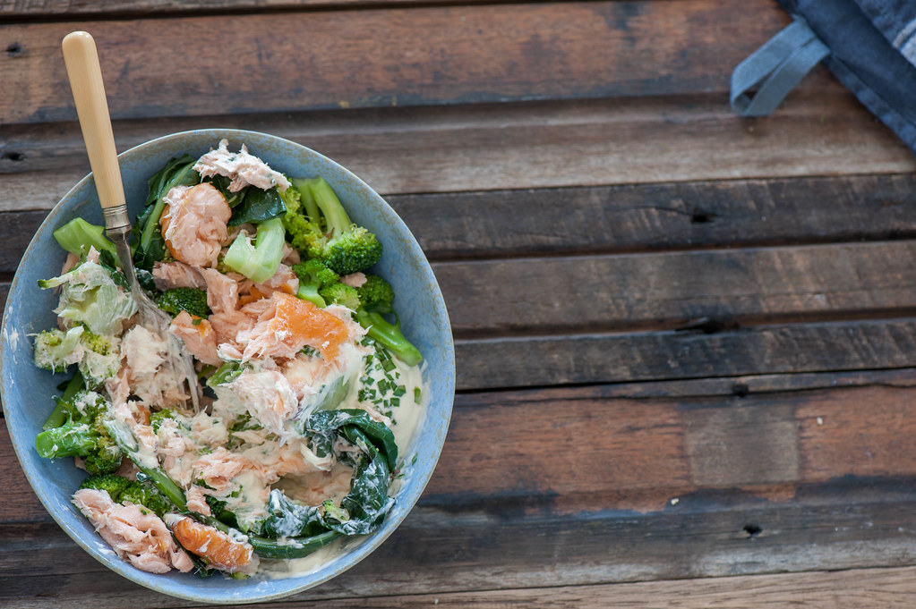 Smoked Trout & Broccoli Bowls w Sour Cream & Chives-2