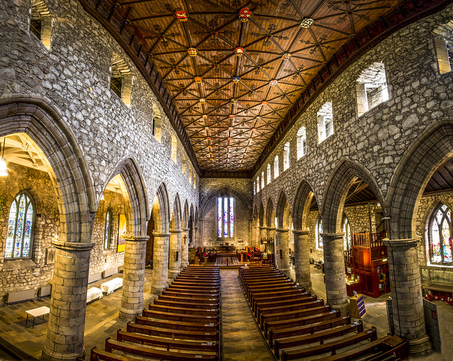 panorama inside the ancient, magnificent, St Machar's Cathedral, Old Aberdeen, Aberdeen, Scotland