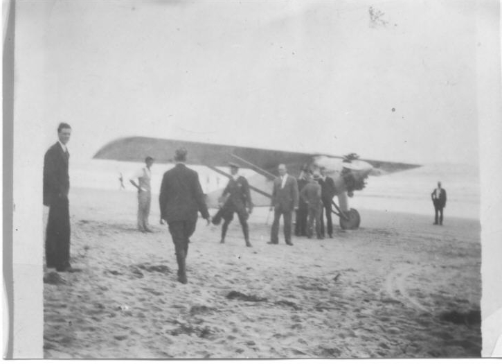 Charles Lindbergh and the Spirit of St. Louis on Orchard Beach, Maine, July 25, 1927.
