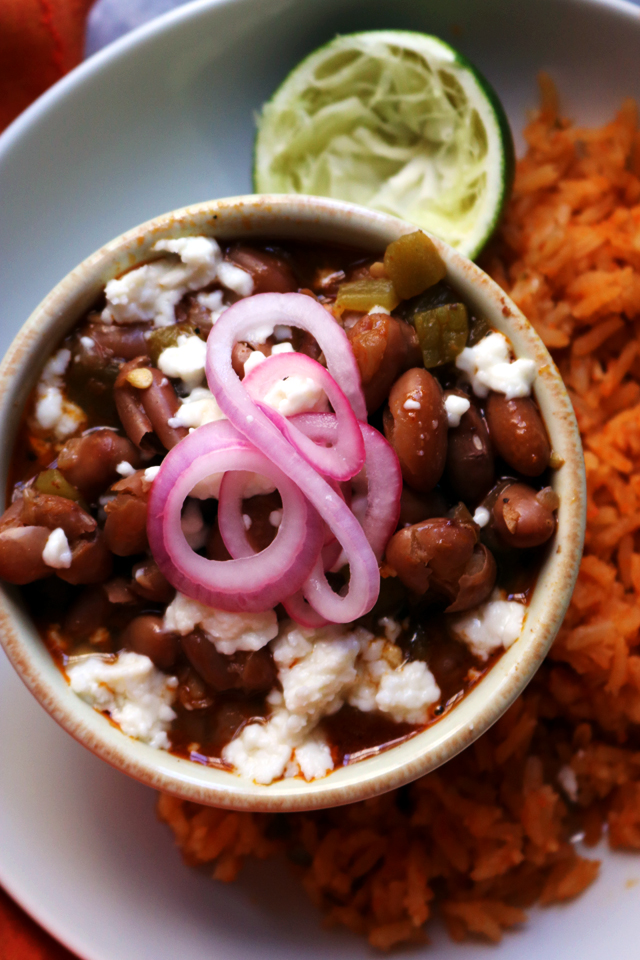 Cranberry Beans with Tequila, Green Chiles, Quick-Pickled Onions, and Mexican Rice