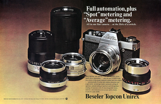 Beseler Topcon Unirex camera system advertisement.
