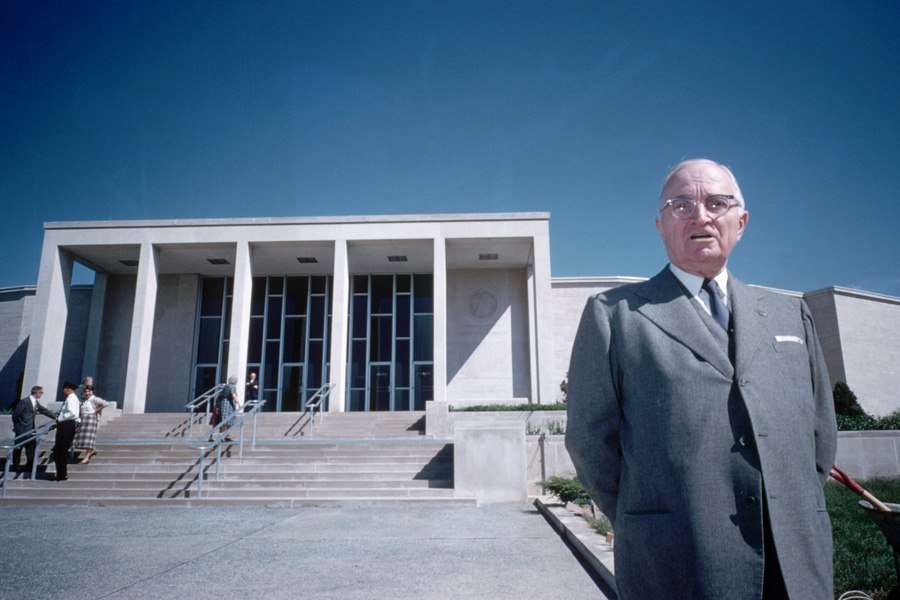Former U.S. president Harry S. Truman at his Presidential Library and Museum in Independence, Missouri, circa 1957.