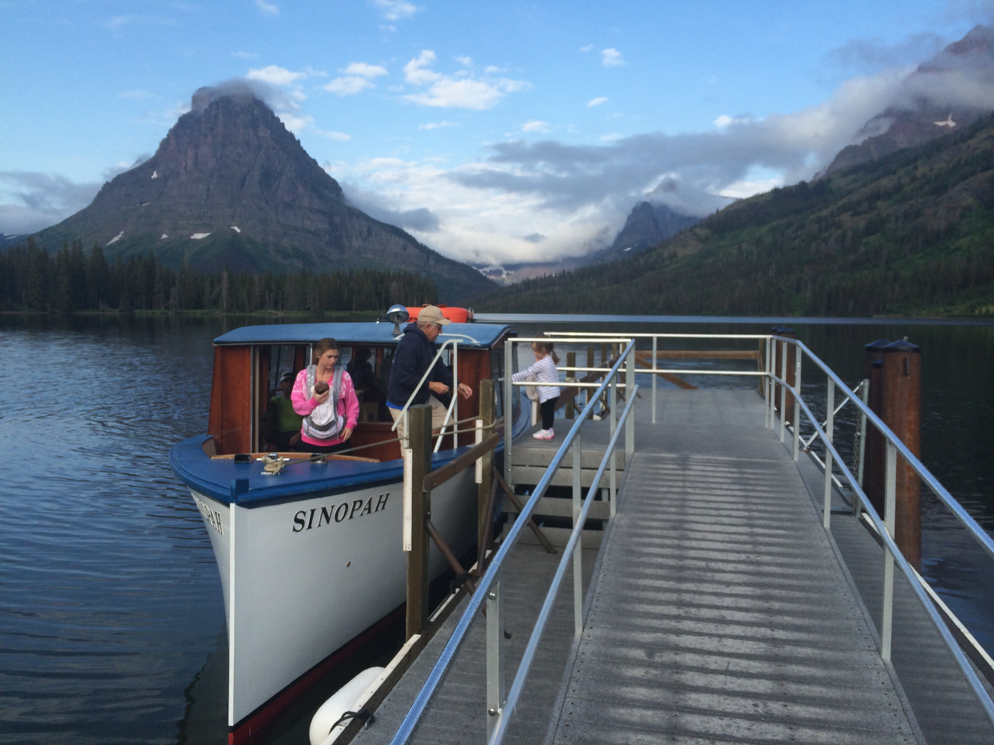Historic wooden tour boat Sinopah on Two Medicine Lake in Glacier National Park, Montana. Photo taken on August 2, 2014.