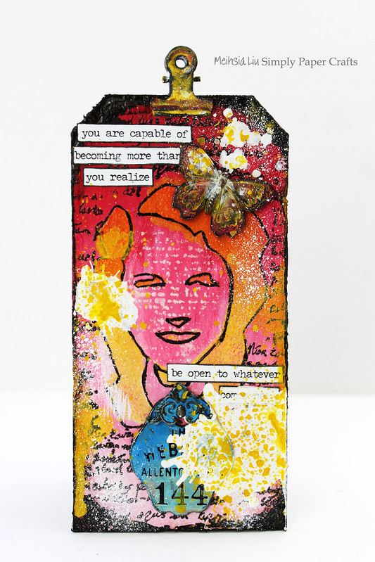 Meihsia Liu Simply Paper Crafts Mixed Media Tag Ombre Dina Wakley