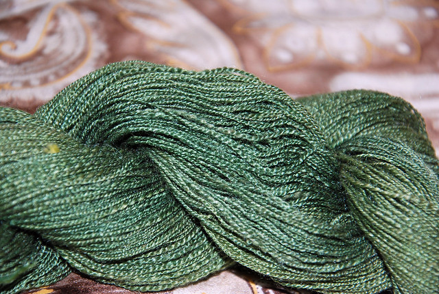 Handspun camel/silk yarn by irieknit dyed by Schafenfreude Fibers