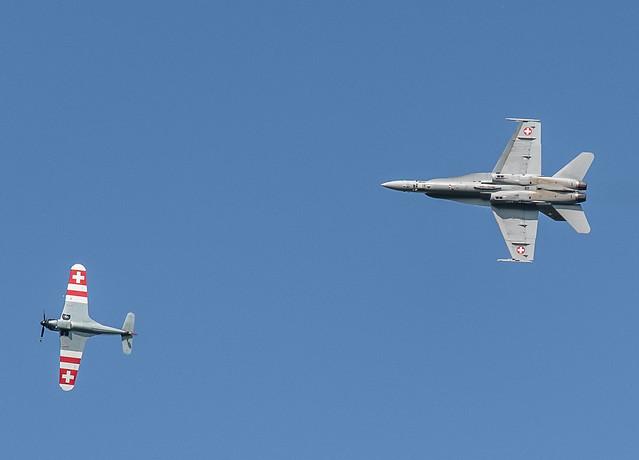 Morane Saulnier MS-406 & McDonnell Douglas F/A-18C Hornet, meeting aérien, La Ferté-Alais (Essonne, France)