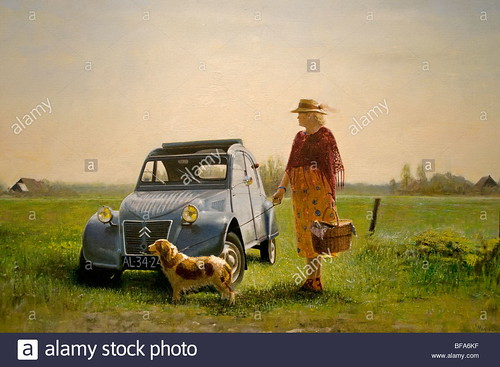 martin-sijbesma-2-cv-citroen-woman-dog-art-gallery-amsterdam-netherlands-BFA6KF