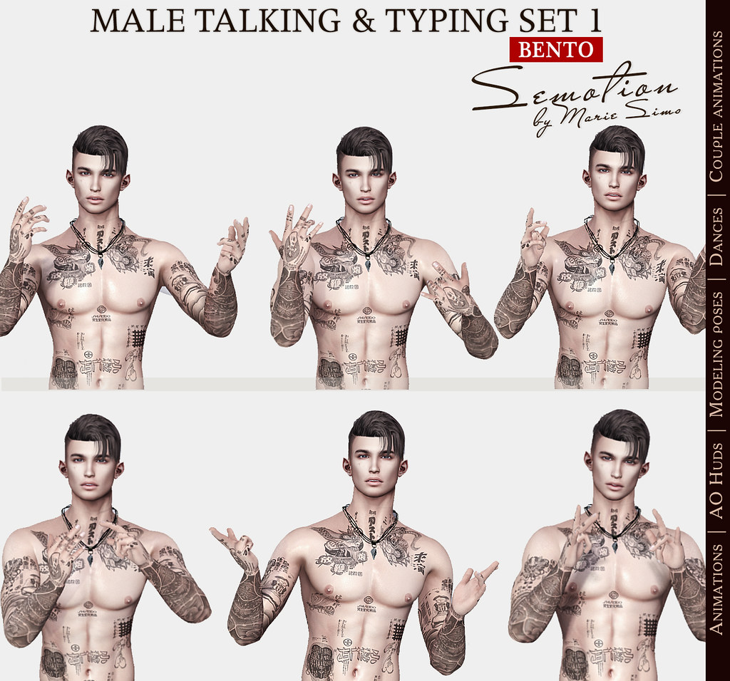 SEmotion Male Bento Talking & Typing Set 1 - 5 animations - TeleportHub.com Live!