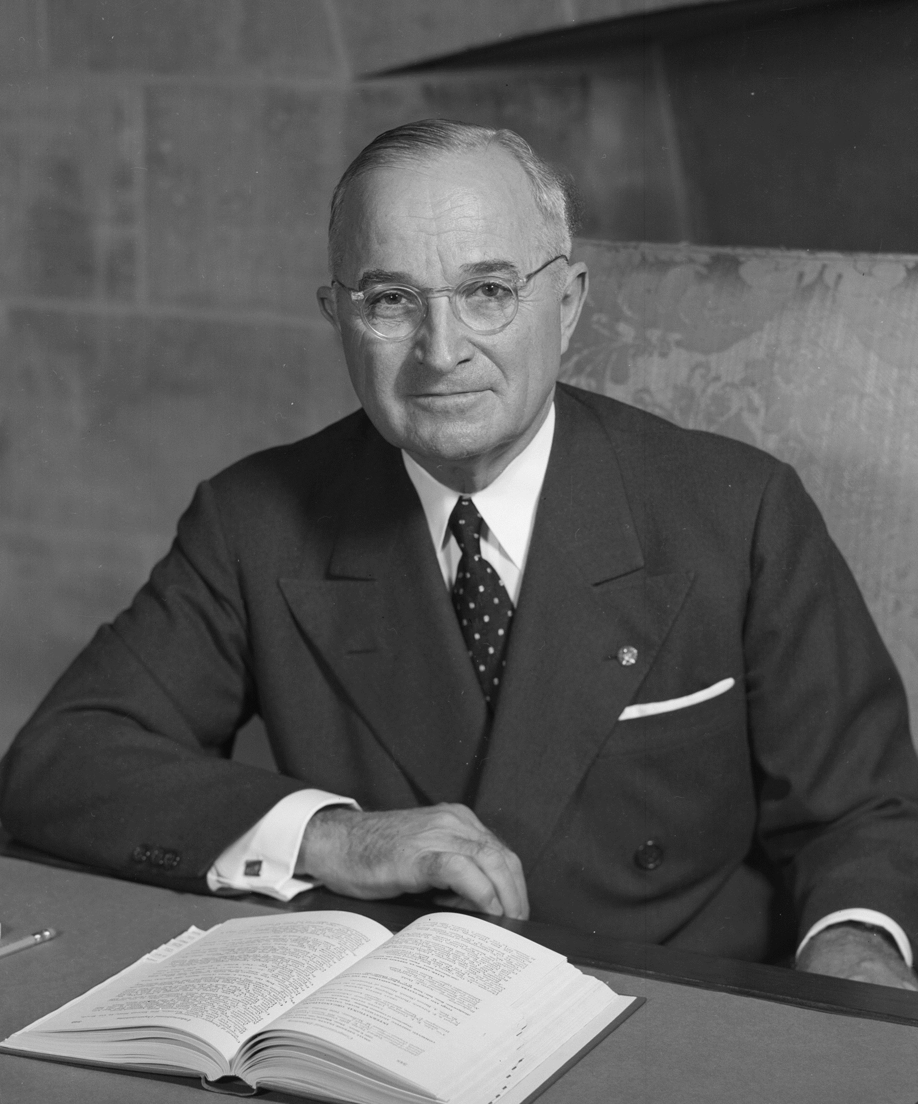 U.S. President Harry S. Truman in an official portrait. Image from the Still Picture Records Section, Special Media Archives Services Division (NWCS-S) of the National Archives and Records Administration, cataloged under the National Archives Identifier (NAID) 530677.