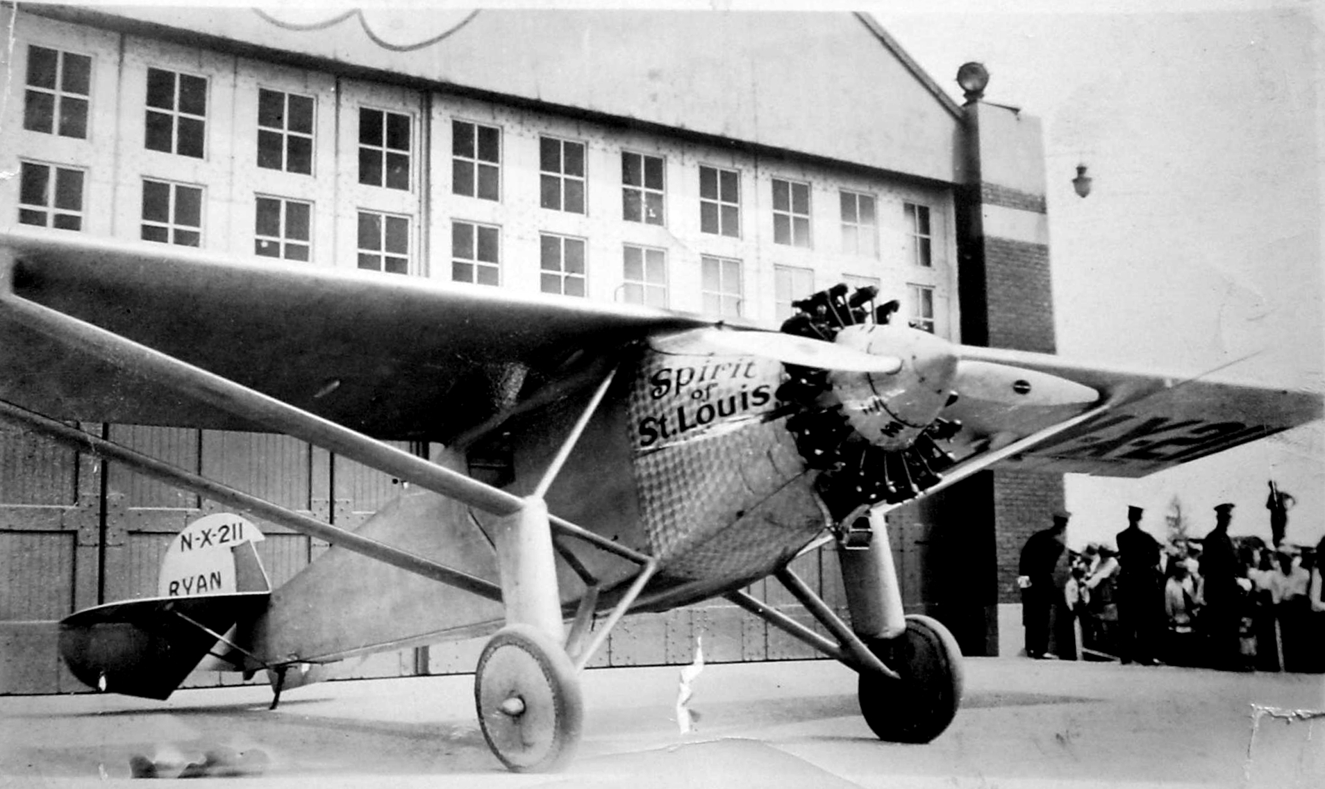 The Spirit of St. Louis in Cleveland, Ohio, on August 1, 1927. Photo taken by Robert H. Keener.