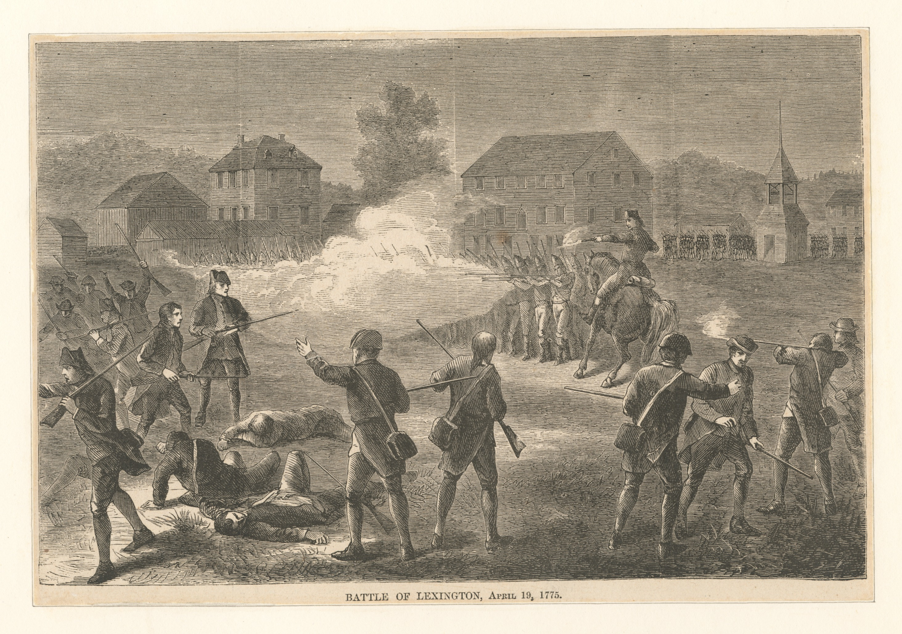 The Battle of Lexington, April 19, 1775, from the collections of the New York Public Library. Printmakers include Henry Bryan Hall and Luigi Schiavonetti.