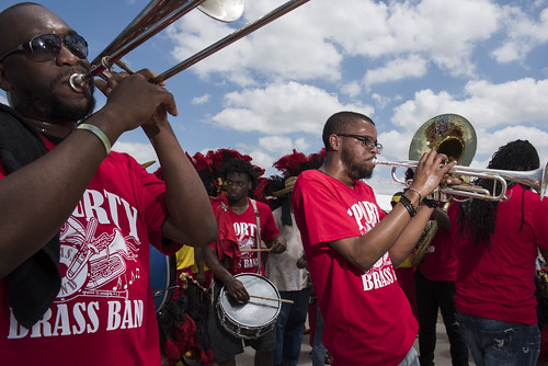 Sudan SA & PC with Sporty Brass Band during Jazz Fest day 4 on May 3, 2018. Photo by Ryan Hodgson-Rigsbee RHRphoto.com