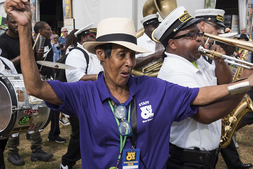 WWOZ artist liaison Dee Lindsey dancing at Jazz Fest day 6 on May 5, 2018. Photo by Ryan Hodgson-Rigsbee RHRphoto.com