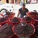 Bored Street Vendor Selling Insects to Eat, Oaxaca, Mexico por dannymfoster