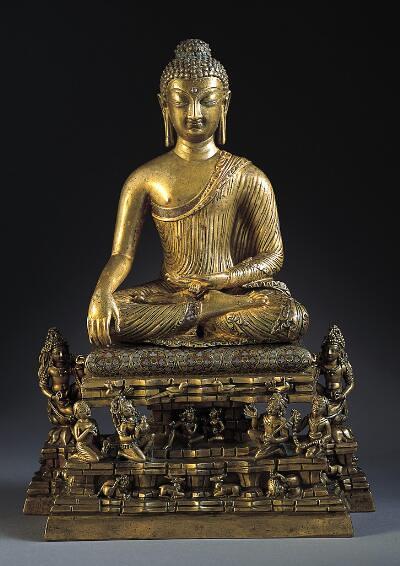 Buddha Shakyamuni and Adorants on Mount Meru