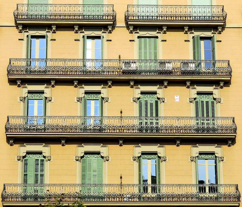 Balconies, long and short:  Barcelona