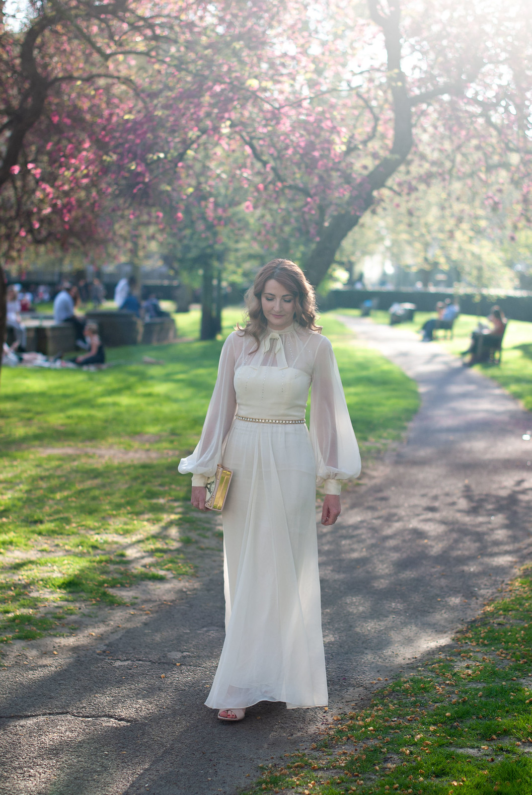 An Ethereal Vintage Evening Dress for the UK Blog Awards: Ivory 70s chiffon dress with balloon sleeves, rhinestones on the bodice and a high neck with pussy bow | Not Dressed As Lamb, over 40 style blog