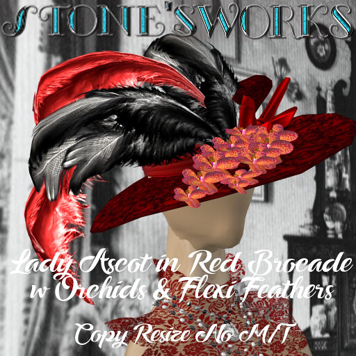 Lady Ascot -Red w black Brocade Vanda Stone's Works_texture