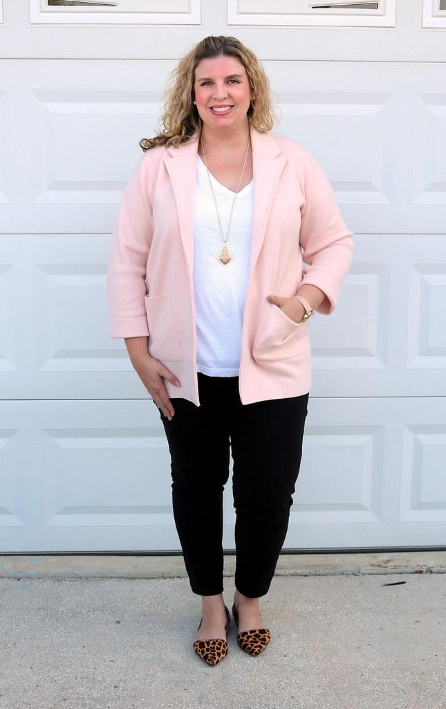 blush sweater cardigan, white tee, black pencil pants, leopard flats 1