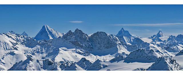 Mont Fort (Verbier) Panorama; The Matterhorn (Cervin, Cervino 4478m) . The Dent Blanche 4357m and the Dent d'Hérenes 4,171m. No. 130 131 132