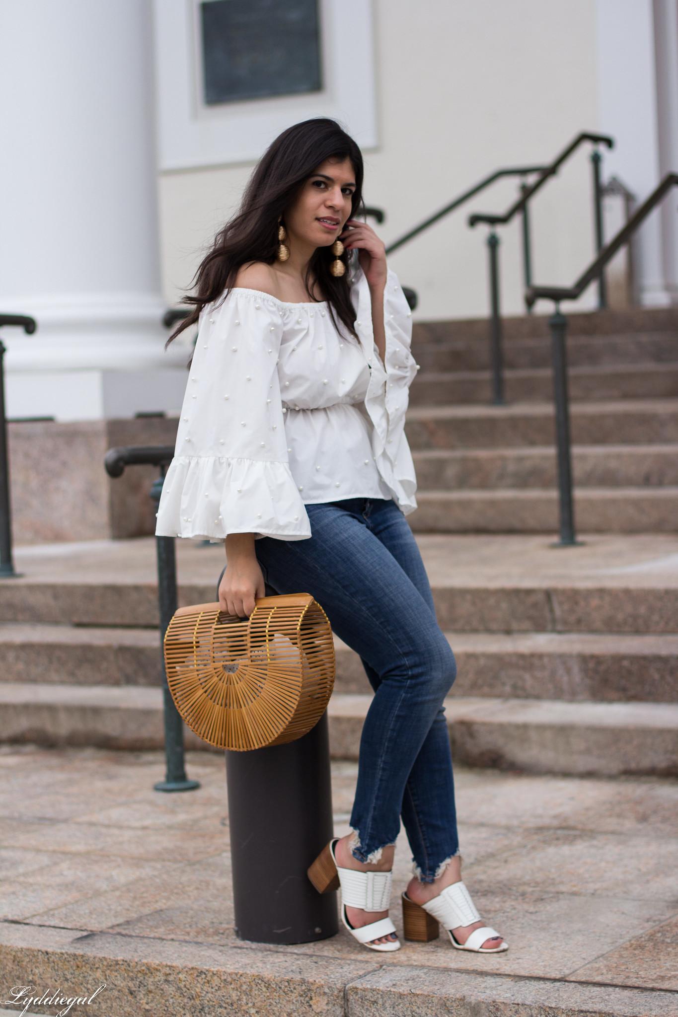 off the shoulder pearl embelleshed blouse, distressed denim, bamboo purse-8.jpg