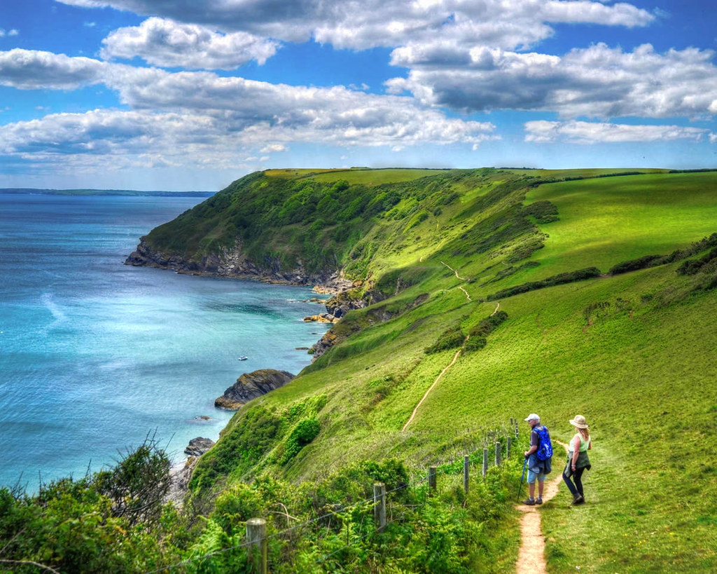 The South West Coast Path at Lantic Bay, Cornwall. Credit Baz Richardson