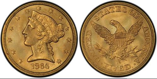 1864-S $5 PCGS MS 65 +