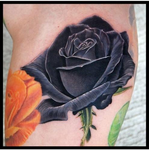 Flower Tattoos : Reference for black rose, add blue/ purple. last big flower. forearm by dahlia.