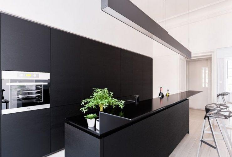 Нестандартное освещение на кухне минимализм