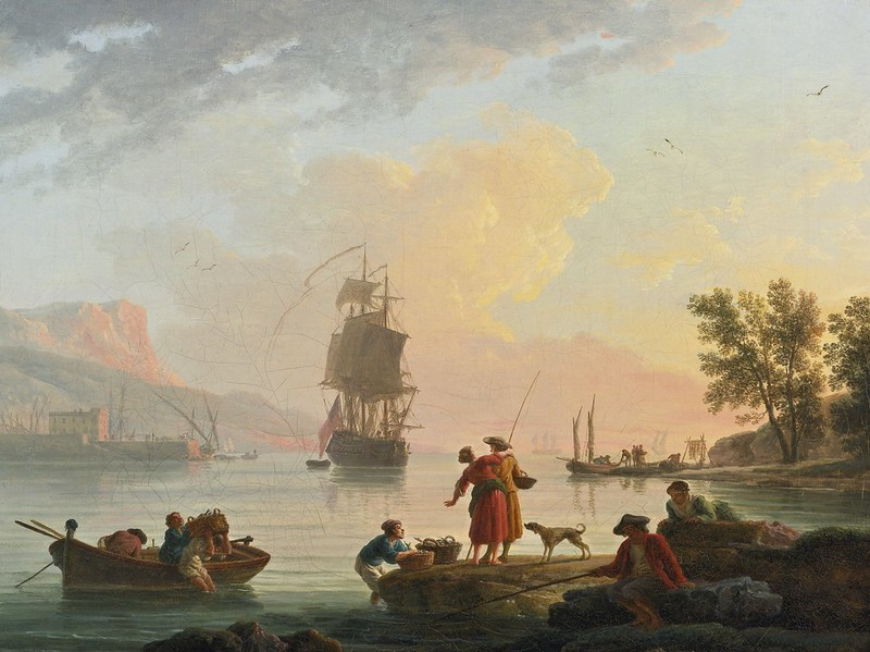Claude-Joseph Vernet - A coastal scene with fishermen in the foreground