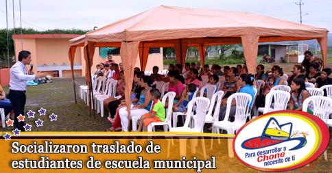 Socializaron traslado de estudiantes de escuela municipal
