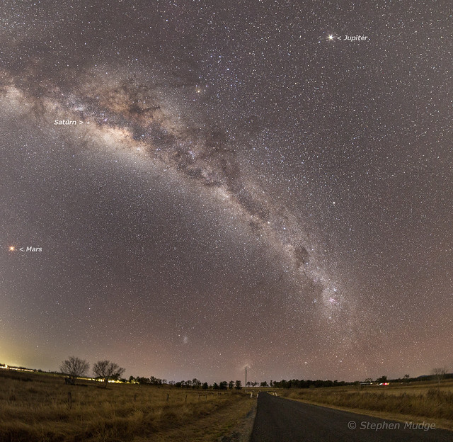 Milky Way with Mars, Saturn and Jupiter