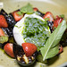 Burrata, charred cucumber, strawberries, basil, chia seeds