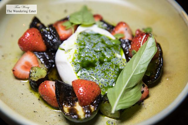 Burrata, charred cucumber, strawberries, basil, chia seeds