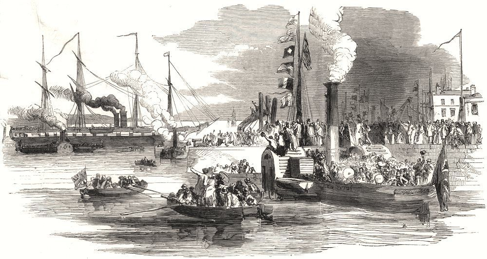 SS Great Britain leaving Princes Pier, Liverpool, for Australia, 1852