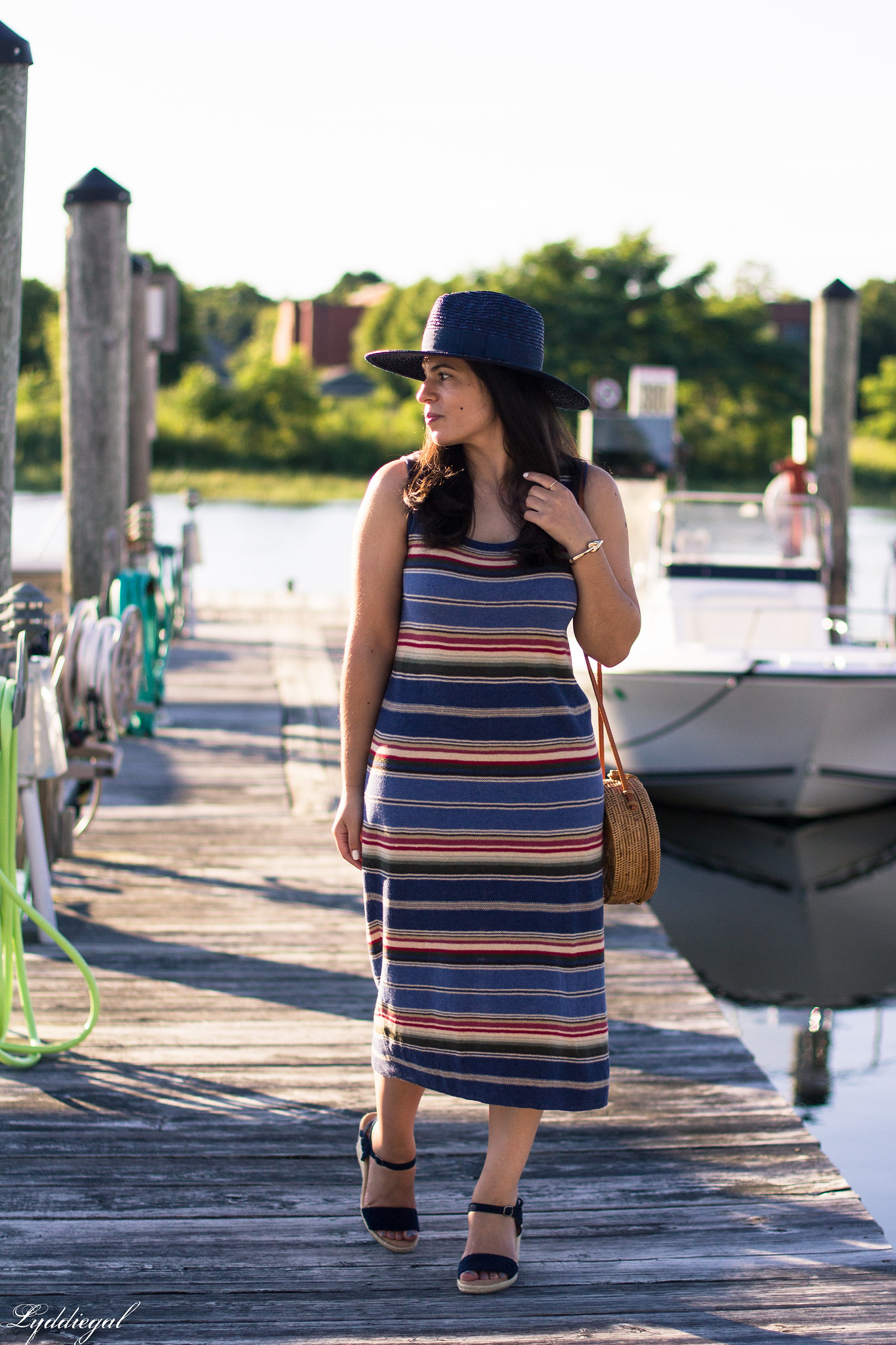 striped midi dress, navy straw hat, round straw bag, wedges-4.jpg