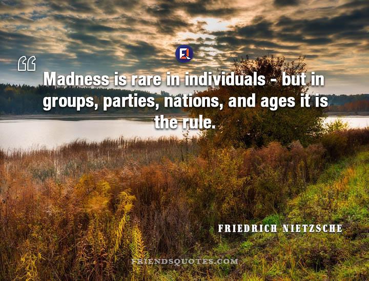 Friedrich Nietzsche Quote Madness rare individuals | Flickr