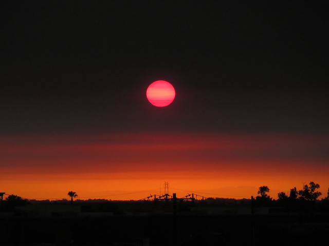 sunrise through wildfire smoke, Canon POWERSHOT ELPH 520 HS
