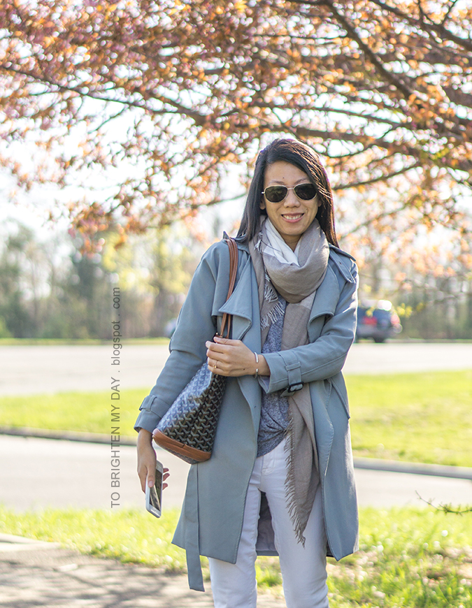 plaid scarf, draped trench coat, gray top with twist hem, white jeans, patterned tote