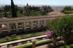 The Generalife.  main canal. Wiev towards The Alhambra.