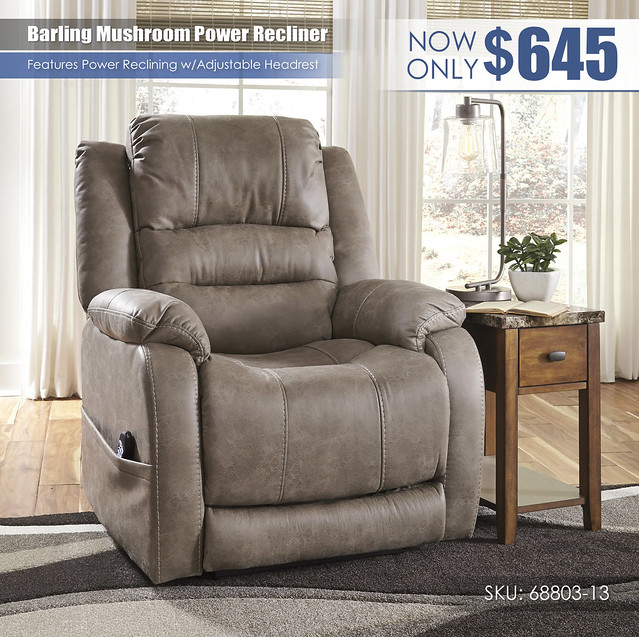 Barling Mushroom Power Recliner_68803-13