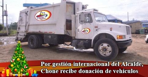 Por gestión internacional del Alcalde, Chone recibe donación de vehículos