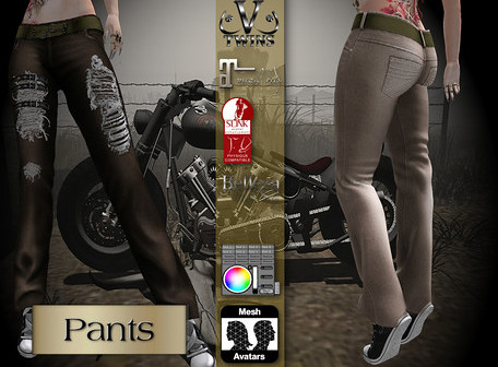 V-Twins Biker Clothes – Individual Items Mesh Pants/Jeans – True Grit Color Version (Slink, Belleza & Maitreya)