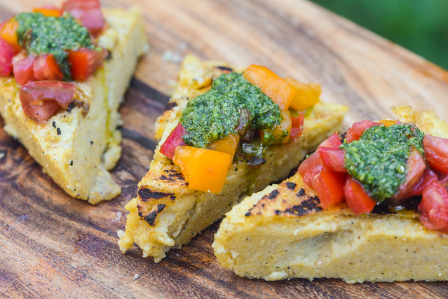 Grilled Polenta with Tomatoes and Salsa Verde
