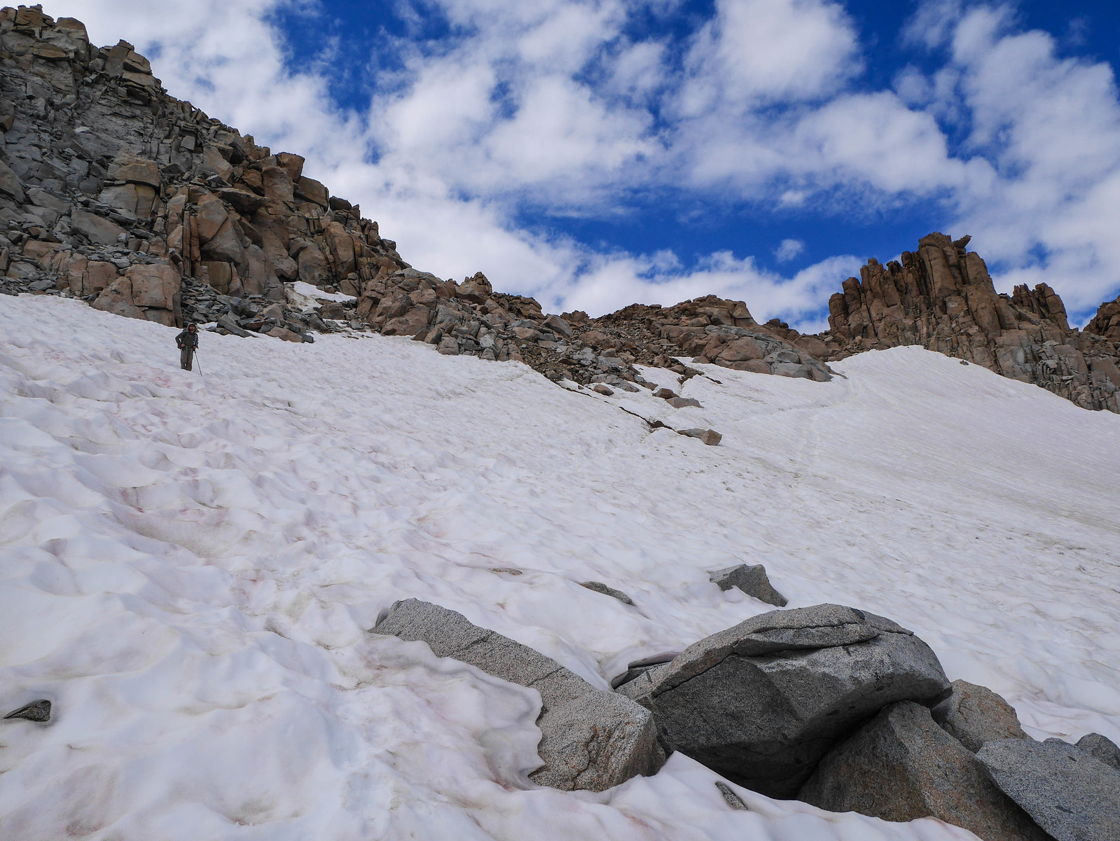 Jason crossing the snowfield below Lamarck Col